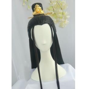 Men's chinese ancient hanfu swordsmen warrior cosplay wig prince emperor drama film cosplay black straight hair wig 80cm