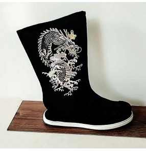Men's chinese ancient traditional hanfu dance boots male stage performance emperor drama cosplay dragon boots shoes