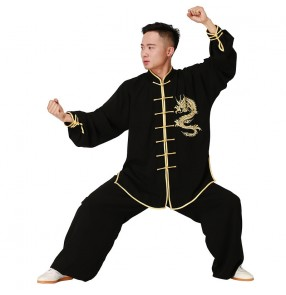 Men's Chinese dragon taichi kungfu uniforms fitness wushu martial art performance competition costumes