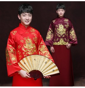 Men's chinese dresses wine red red dragon robes ancient traditional chinese stage performance bridegroom robes chinese folk dance wedding party dresses