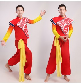 Men's chinese folk dance costumes dragon drummer stage performance costumes