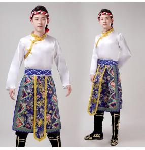 men's Chinese folk dance costumes Tibetan mongolian dance costumes for men male Tibetan grassland dance costumes