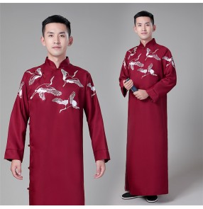 Men's chinese folk dance qipao dresses stage performance drama cosplay china ancient traditional Republican Long robes dress