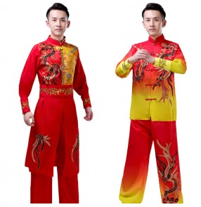 Men's Chinese traditional drummer dragon lion dance costumes stage performance yangko wushu martial dance tops and pants