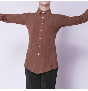 Men's coffee latin ballroom dance shirts brown colored stage performance competition waltz tango dance tops