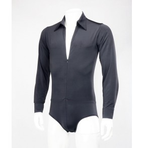 Men's competition ballroom latin dance body shirts male professional samba waltz tango flamenco tops shirts
