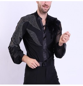 Men's competition ballroom latin dance tops body shirts stage performance salsa samba professional chacha dancing tops