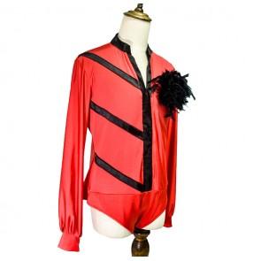 Men's competition latin ballroom dance body shirts waltz tango chacha jive Rumba samba dance leotard tops shirts