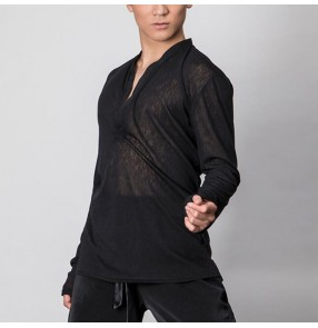 Men's competition Latin dance shirts male black ballroom dancing shirts flamenco training stage performance shirts tops