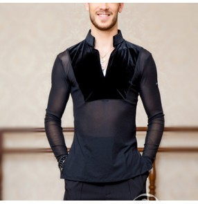 Men's competition latin dance shirts male stage performance rumba samba chacha ballroom waltz tango dance tops shirts