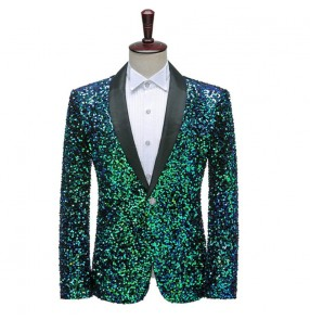 Men's dark green sequined host singers stage performance blazers jazz dance jackets for male photos studio coats night club bar dj ds stage performance coats
