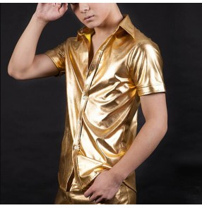 Men's gold leather jazz dance shirts short sleeves hiphop singers host night club dj stage performance barber shirts