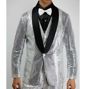 Men's gold red silver black pink sequin night club jazz dance blazers singers host performing coats stage performance modern dance coats