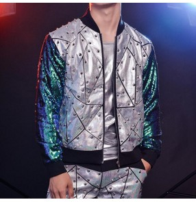 Men's gold silver sequin rivet laser jazz singers concert gogo dancers jacket male modern dance night club dj model performance coats