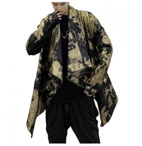 Men's gold with black bling jazz hiphop dance jackets personality night club dj singers model show stage performance jacket coats