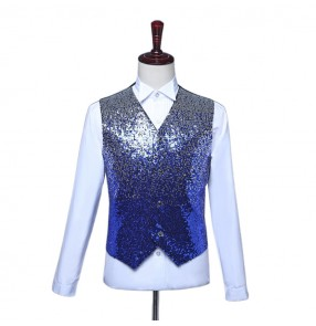 Men's gradient sequin modern host singers waistcoats young men boy red pink royal blue show stage performance night club jazz dance vests
