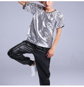 Men's hiphop jazz dancing outfits sequin paillette modern dance singers competition stage performance tops and pants