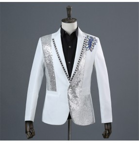 men's Host dress suit singers blazers trendy men's stage performance suit photo studio photo black and white diamond suit
