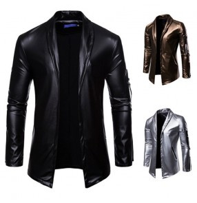Men's jazz dance Elastic PU Leather coats Motorcycle singers host band Lapel Leather Suit Gold Silver Black Leather night club bar fashion Jacket Leather Suit Men