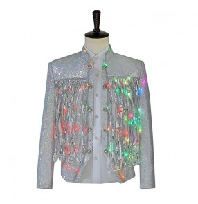 Men's jazz dance jackets silver sequined LED lights luminous singer jacket DJ stage performance clothing night sequined tassel short coats