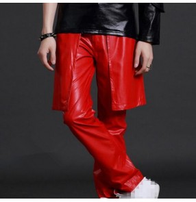 Men's jazz dance pants white black red personality leather pants dj gogo dancers night club host pole dance drummer stage performance long trousers