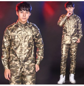 Men's jazz dance printed camouflage shirts singers host gogo dancers night club stage performance modern dance tops shirts