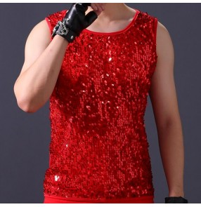 Men's jazz dance sequin vest for male red white modern dance stage performance singers gogo dancers night drummer model show competition tops