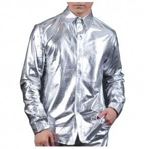 Men's jazz dance silver shirts stage performance male patent leather glitter night club singers gogo dancers host barber tops shirts