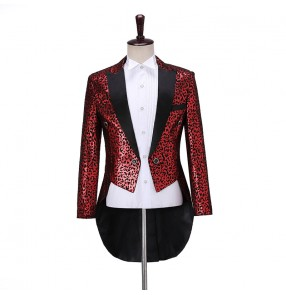 Men's jazz dance singers Magician Leopard Print Tuxedo Suit long coats for male Fashion Conductor Stage Bel Canto Singer Live Jazz Dance Performance