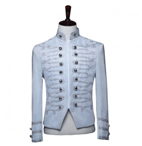 men's jazz dance stage singers performance silver jackets palace army dress suit nightclub bar DJ host coat hair stylist zipper top