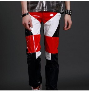Men's jazz modern dance pants patchwork singers leather punk rock pole dancing gogo dancers night club dj performance trousers