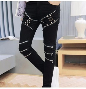 Men's jazz stage performance skinny pants trousers dj ds slim fit night club stretchy trousers long pants