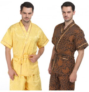 Men's Kimono Home wear Cardigan with straps Sweat suit Men's and women's bath clothes Bathrobe Sauna clothes Open bathing suit