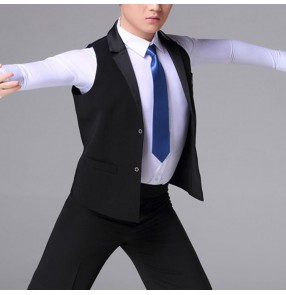 Men's Latin ballroom dance black waistcoats short length lapel collar competition stage performance waltz tango dance vest for male