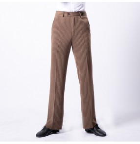 Men's latin ballroom dance pants male professional striped wine black white waltz tango chacha jive dancing trousers pants
