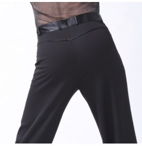 Men's latin ballroom dance pants ribbon side waistline with loop summer and winter style stage performance competition long trousers