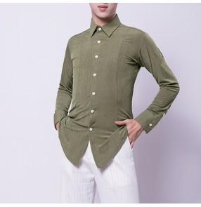 Men's latin ballroom dance shirts army green waltz tango chacha competition tops shirts