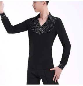 Men's latin ballroom dance shirts tops stage performance rhinestones competition samba salsa chacha dance tops shirts