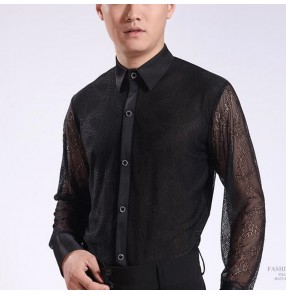 Men's latin ballroom dancing shirts lace sleeves male stage performance competition waltz tango chacha salsa dance shirt tops