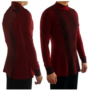 Men's latin ballroom tango dancing shirts for male competition long sleeves turtle neck stage performance professional tops
