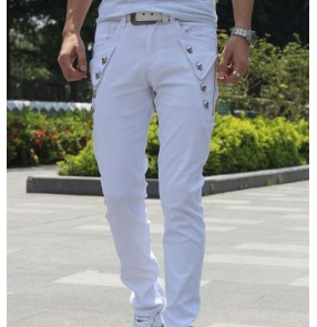 Men's latin ballroom waltz tango dance skinny pants skull pattern male night club dj  dance slim fit trousers
