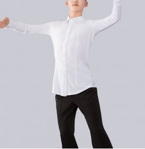Men's Latin dance shirts ballroom dance tops men's modern performance long-sleeved shirt national standard dance professional competition tops