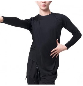 Men's latin dance shirts black colored male ballroom waltz tango salsa rumba chacha dance tops