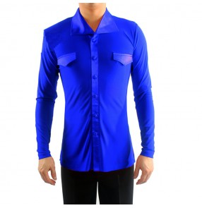 Men's latin shirts for male royal blue red black white competition stage performance professional tango waltz dancing tops