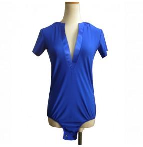 Men's latin shirts tops royal blue color v neck short sleeves ballroom salsa chacha rumba samba dancing leotards tops