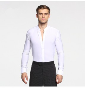 Men's latin shirts white black color competition stage performance professional ballroom waltz chacha rumba dancing tops