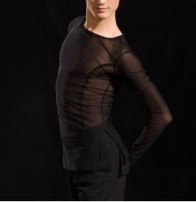 Men's mesh long sleeves black ballroom latin dance shirts modern competition dance waltz tango dance tops for man