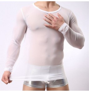 Men's mesh see through white black jazz latin dance shirts pole hot dance stage performance tight sexy tops