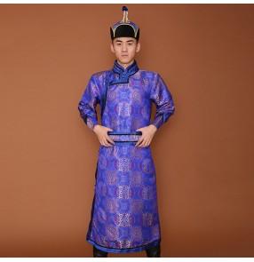 Men's minority Mongolian dance robe male satin long Mongolian clothing ethnic minority mongolia stage performance dance costumes for men