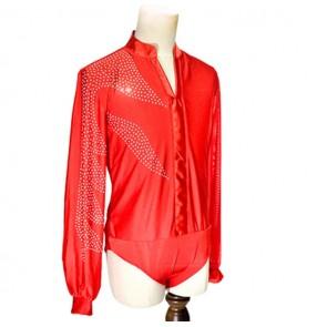 Men's modern ballroom latin dance body shirts red black stones tops stage performance waltz tango dance tops body shirts